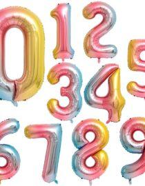 sifferballonger regnbågsfärgade