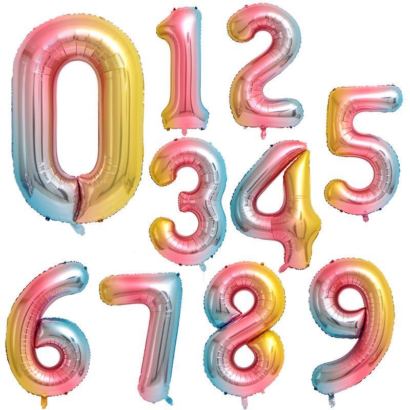 Sifferballonger , 100 cm, regnbågsfärgad