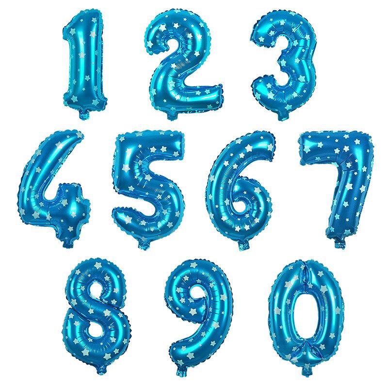 Sifferballong, 81 cm, blå