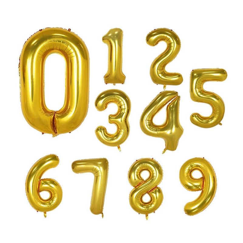 Sifferballong, 100 cm, guldfärg