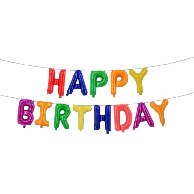 Happy Birthday Folieballonger multifärger, 1 set