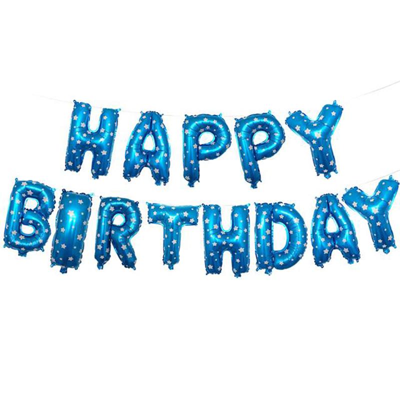Happy Birthday Folieballonger Blå, 1 set