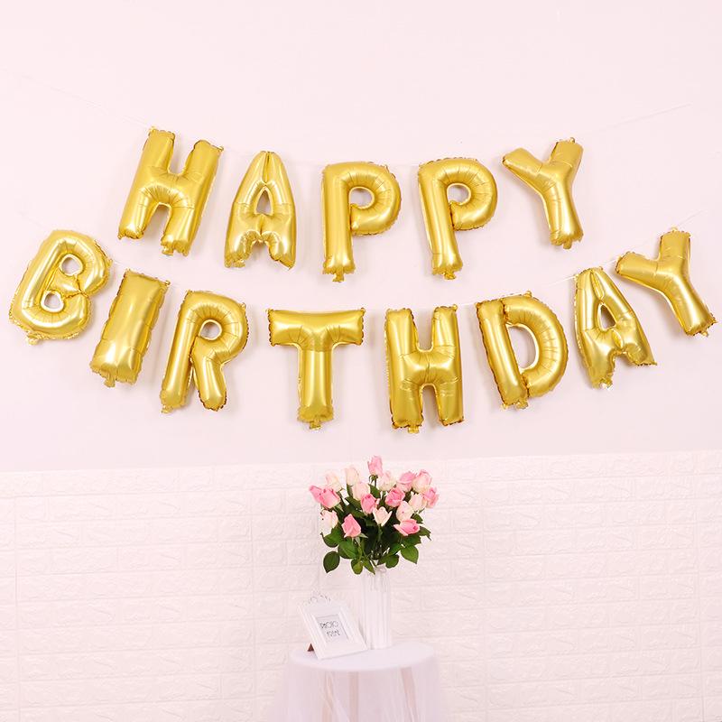 Happy Birthday Folieballonger Guld, 1 set