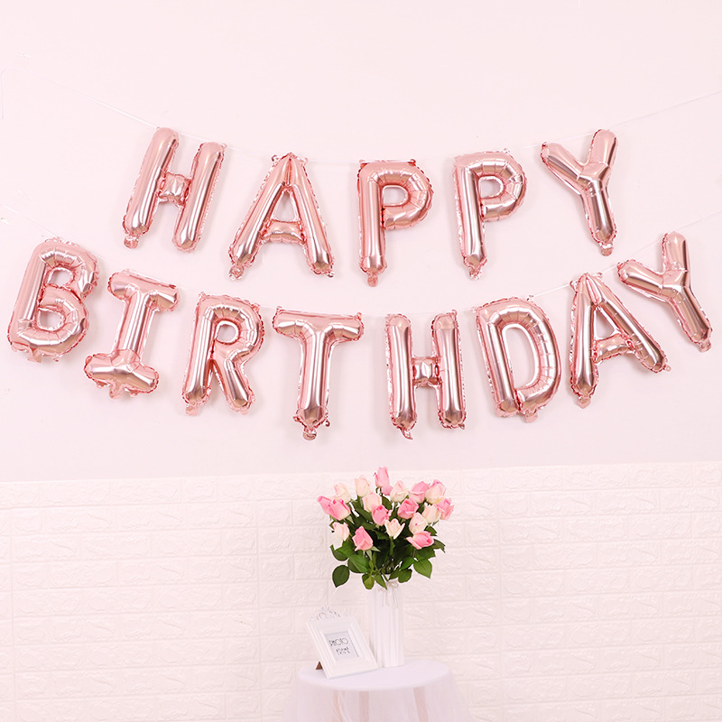 Happy Birthday Folieballonger Roséguld, 1 set