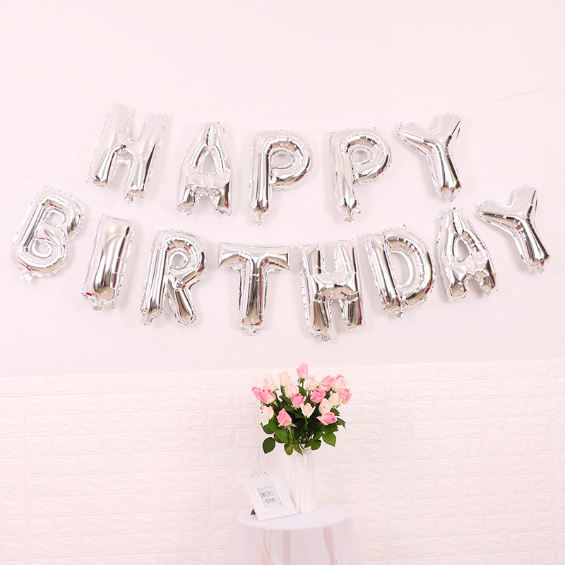 Happy Birthday Folieballonger Silver, 1 set