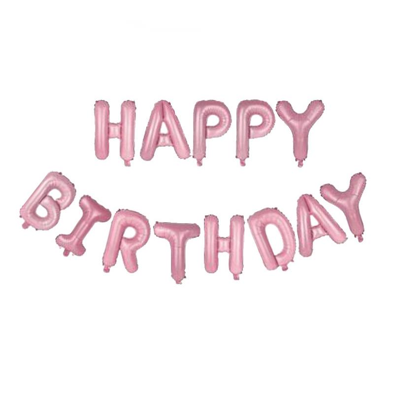 Happy Birthday Folieballonger Rosa, 1 set