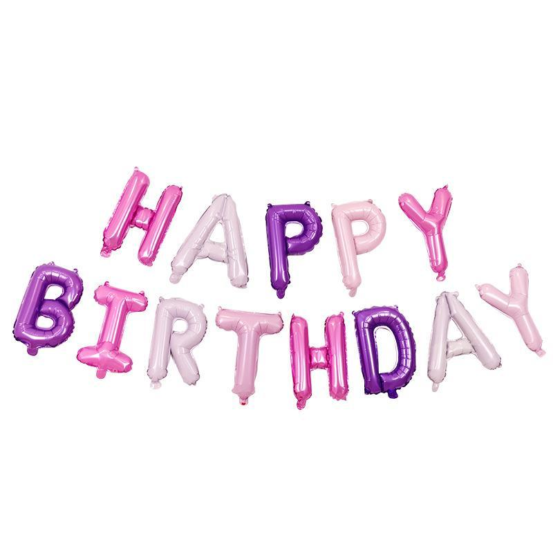 Happy Birthday Folieballonger lila / rosa, 1 set