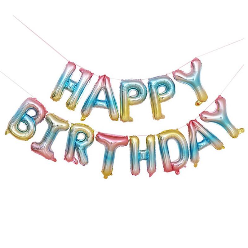 Happy Birthday Folieballonger regnbåge, 1 set