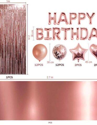 Roséguld happy birthday set